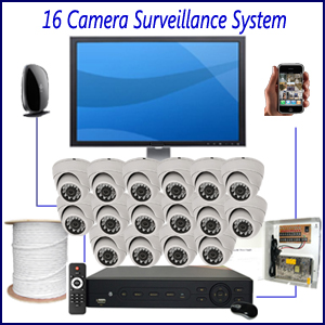 16 Camera Surveillance System Home 4 Camera Surveillance Package