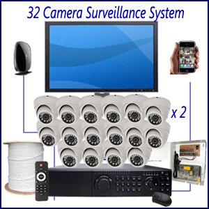 32 Camera Surveillance System Home 4 Camera Surveillance Package