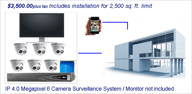 Business Surveillance Installation IP 6 Camera System Home
