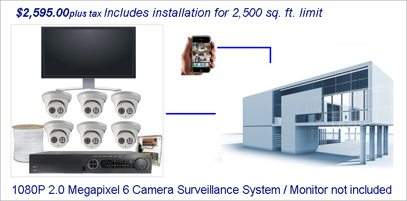 Business Surveillance Installation TVI 6 Camera System Home
